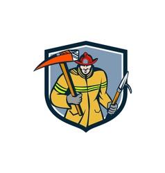 Fireman Firefighter Fire Axe Hook Crest Retro vector image