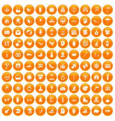 100 joy icons set orange vector