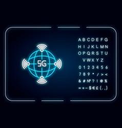 5g worldwide availability neon light icon global vector