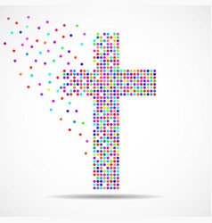 Abstract colorful cross dots christian symbol vector