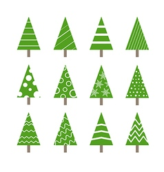 Abstract ornamented christmas trees collection vector image