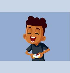 African boy playing video game having fun vector