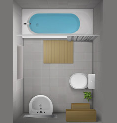 Bathroom interior top view room with bathtub vector