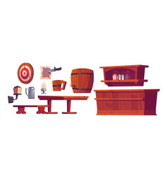 beer pub saloon retro bar stuff and furniture vector image
