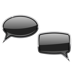 black speech bubbles round and square 3d icons vector image