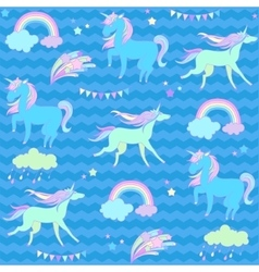 Blue and green unicorns with flags on a aquamarine vector image