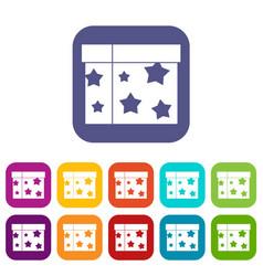 Box magician icons set vector