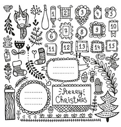 Bullet journal and christmas doodle elements vector