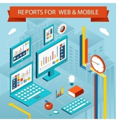 Business charts and reports on web pages mobile vector image
