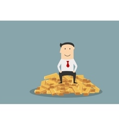 Businessman sitting on a gold bars vector