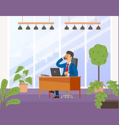 Businessman working at computer man looking vector