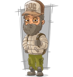 Cartoon bearded tourist with backpack vector