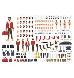 Caucasian man creation set or diy kit collection vector