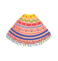 colored poncho clothes traditional mexico icon vector image