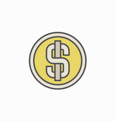 Colorful dollar coin icon vector