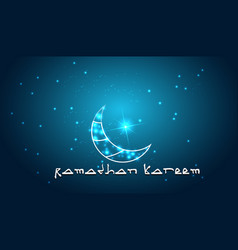 Creative design crescent moon on glowing backgroun vector