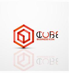 cube idea concept logo line vector image