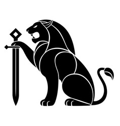 Decorative lion with sword vector