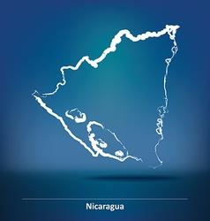 Doodle Map of Nicaragua vector