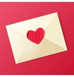 envelope with sealing wax in form heart vector image