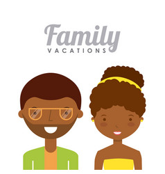 Family on summer vacation design vector