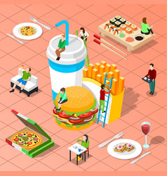 Fast food isometric composition vector