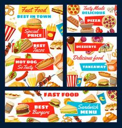 Fast food street snacks and drinks menu vector