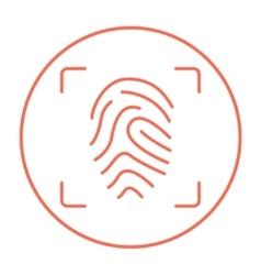 Fingerprint scanning line icon vector