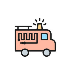 fire truck with flasher flat color line icon vector image