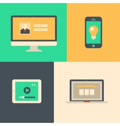 Flat design tablet phone computer and laptop vector image