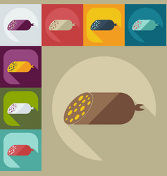 Flat modern design with shadow icons sausages vector