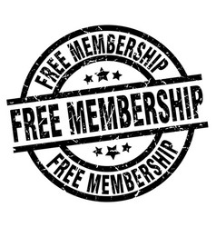 Free membership round grunge black stamp vector