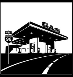 Gas station on road vector