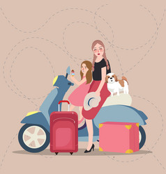 Girls mom and kids riding scooter bring bag vector