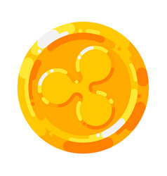 golden ripple coin crypto currency blockchain vector image