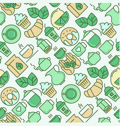 Green tea ceremony seamless pattern vector