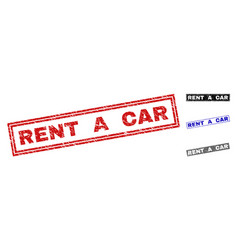 grunge rent a car scratched rectangle watermarks vector image