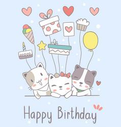 Hand drawn cat cute happy birthday greeting card vector