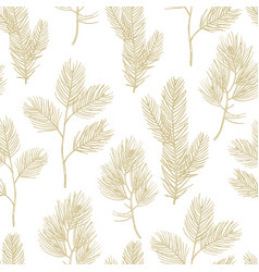Hand drawn golden fir branches seamless pattern vector