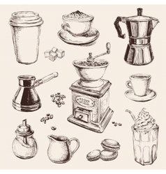 Hand Drawn Set Coffee vector