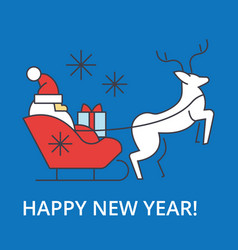 happy new year santa claus sleigh vector image