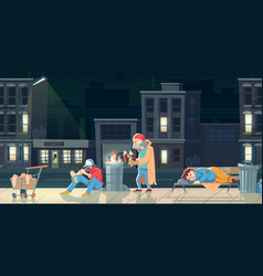 Homeless people in ghetto beggars and bums life vector
