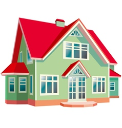 House with red roon white background vector