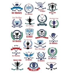 Ice hockey game icons and symbols vector