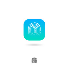 icon fingerprint security system biometry web vector image