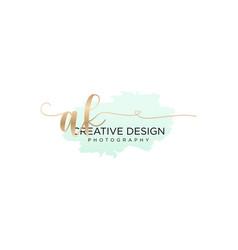 Initial ak handwriting logo with brush template vector