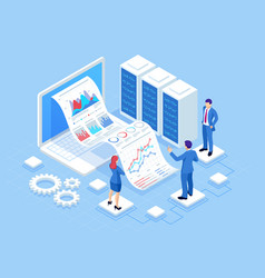 isometric concept business analysis analytics vector image
