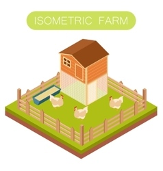 Isometric henhouse with chikens vector image