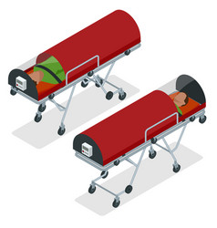 Isometric set a gurney or wheeled stretchers vector