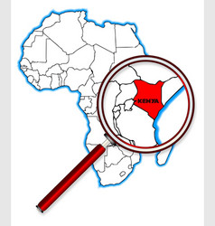 Kenya under a magnifying glass vector